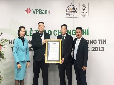 VPBank được cấp chứng chỉ ISO/IEC 27001:2013 về An toàn thông tin